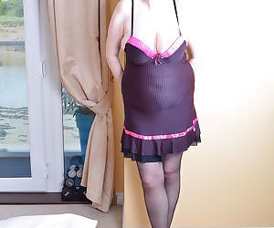 This big breasted mature lady loves to play alone - part..