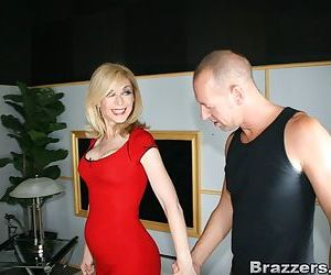 Mature blonde Nina Hartley got her pantyhose torn for hot..