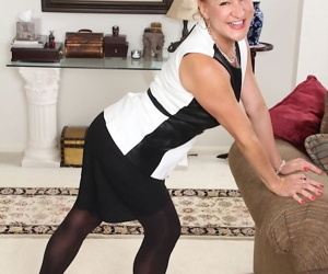 Older lady Sabina Wexler reveals beaver while stripping..