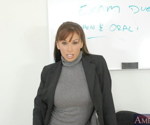 Stunning mature teacher Devon Michaels fondles big tits..
