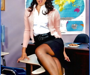 Raunchy teacher in glasses strips from lacy underwear and..