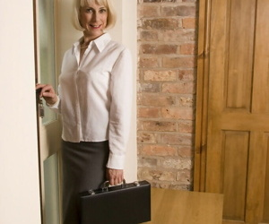 Sassy mature office lady in nylons undressing and exposing..