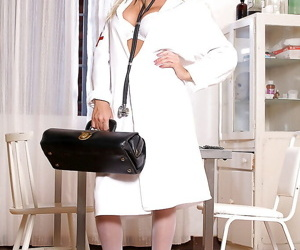 Sassy european nurse in glasses getting rid of her uniform..