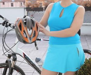 Mature biking babe Charlotta Rose shows saggy tits &..