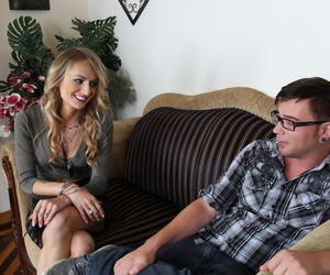 Dads girlfriend Natasha Starr seduces nerdy little loser..
