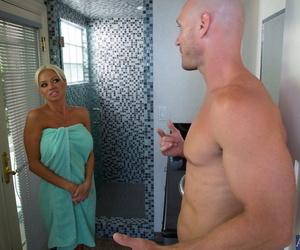 Blonde cougar Nikita Von James gives a raunchy blowjob &..