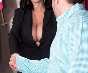 Big boobed mature lady bangs a younger man in her judges..