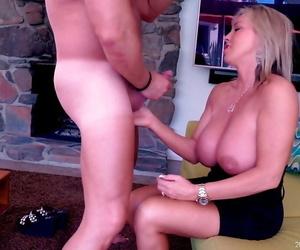 Older blond housewife Sandra Otterson taking cumshot in..