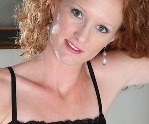 Beautiful redhead Ande touches her hard nipples very sensual