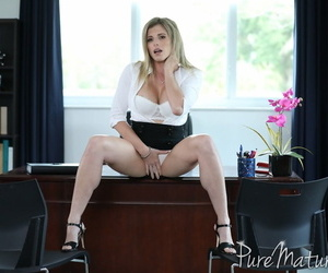 Big tit office blonde Cory Chase takes butt plug and bosss..
