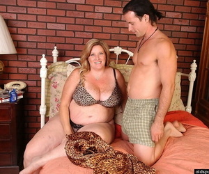 Obese mature woman Deedra takes cumshot on fat tits and..