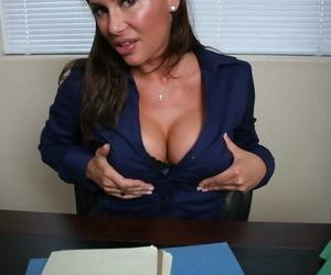 Middle-aged female school principal Sky Taylor masturbates..