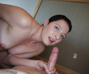 Short haired older mom with shaved vagina jacking cock..