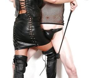 Mature UK femdom pornstar Lady Sarah jerking cock in..