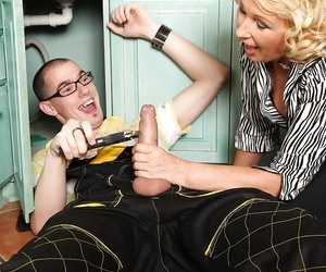 Older blonde lady Regi giving blowjob to big penis and..