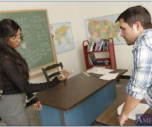 Black mature teacher Diamond Jackson gobbles dick in..