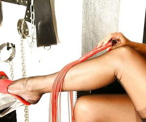 Aged Euro slut Lady Sarah modelling solo for stocking and..