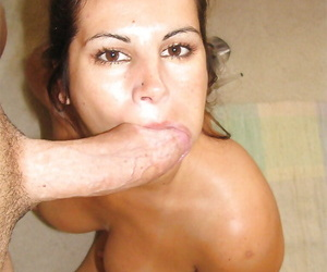 Mature brunette Friday is giving a deep hardcore blowjob..