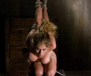 Naked female is restrained by ropes and fucked against her..