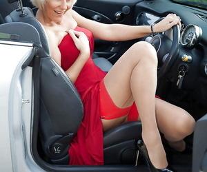 Hot Euro lady Jan Burton flashing stocking tops and..