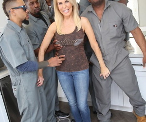 Blonde chick Erica Lauren fucks a bunch of black men to..