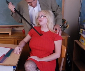 Glasses attired mature fatty Christal blowing cock and..