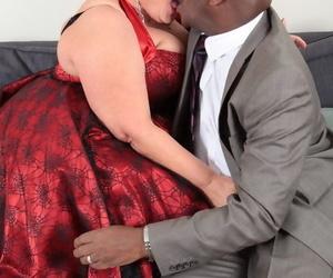 Obese older woman Warm Sweet Honey licks a black mans dick..