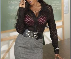 Ebony teacher Diamond Jackson is mature lustful whore with..