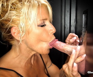 Blonde slut gets on her knees and sucks off 11 guys at a..