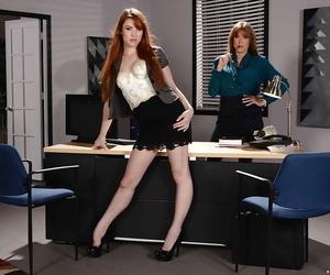 Older and younger secretaries Darla Crane and Gwen Stark..