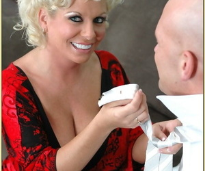 Chubby mature Claudia Marie using big tits to please a..