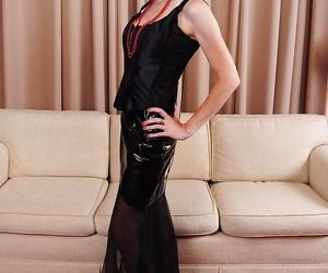 Skinny older dame Alyce Porter showing off pink vagina..