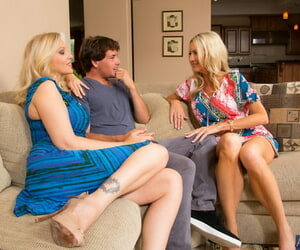 Two horny MILFs Emma Starr and Julia Ann share lucky guys..