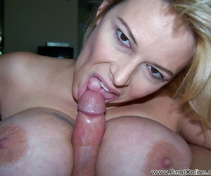 Full-bosomed mature blonde Lynn Lemay showing off her..
