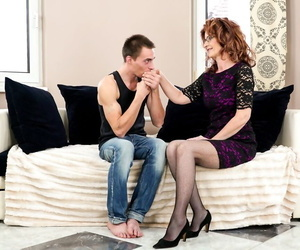 Experienced woman Mayna May gets serviced by her young boy..