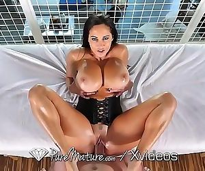 PureMature Oiled up massage fuck with big breasted MILF..