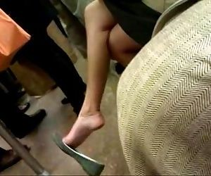 Asian milf expert dangle in flats on F train - 57 sec