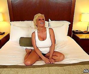 Oiled Up Blonde MOM POV Big Tit Slut Ass Fucking..