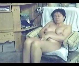 My mum home alone caught masturbating by my hidden cam -..