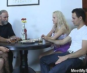 Perverted parents fuck their son's GF - 6 min