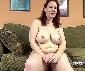 Mature redhead Lia Shade is blowing a dude she just met -..