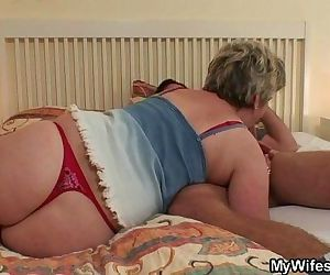 Horny granny seduces him but wife finds out! - 6 min