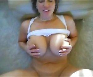 Busty Cougar - Cum on Tits - 2 min