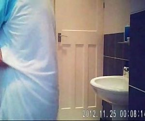 Hidden cam in bath room finally caught my cute mom nude !!..