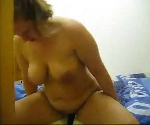Riding a massive dildo on my sons bed -..