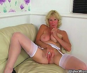 British milfs Molly and Clare in stockings with suspendersHD