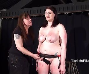 Chubby lesbian slave Alyss whipped to tears and merciless..