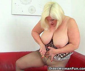 British granny Lacey Starr loves exposing her big tits and..