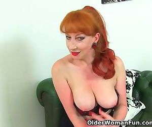 English milf Red teases us with her heavenly body