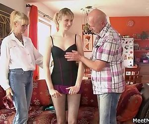 She rides her BF's dad cock and mom helps